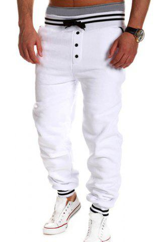 Best Loose Fit Stylish Lace-Up Button Embellished Rib Splicing Beam Feet Polyester Sweatpants For Men