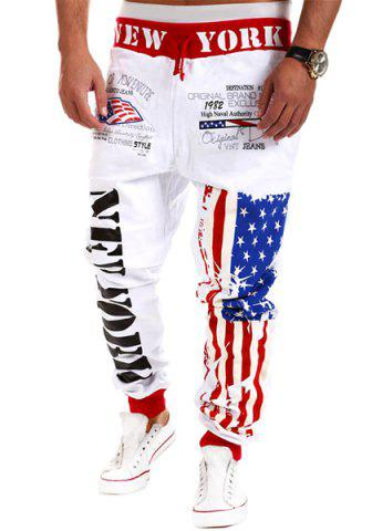 Cheap Loose Fit Stylish Lace-Up Stars Stripes Letters Print Beam Feet Polyester Sweatpants For Men