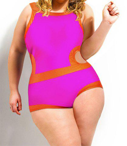 Cheap Sexy Scoop Collar Color Block Hollow Out Plus Size Women's Swimwear