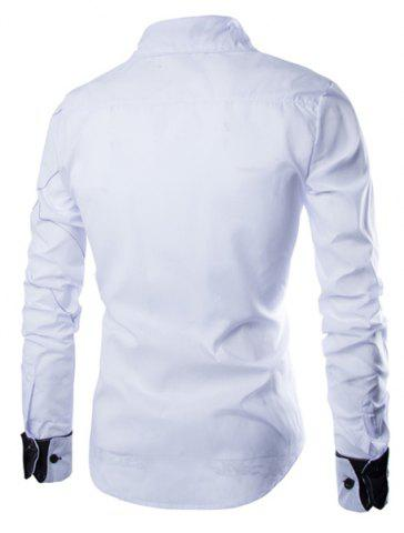 Chic Fashion Shirt Collar Slimming Checked Sutures Design Long Sleeve Polyester Shirt For Men - M WHITE Mobile