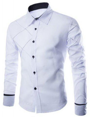 Sale Fashion Shirt Collar Slimming Checked Sutures Design Long Sleeve Polyester Shirt For Men WHITE M
