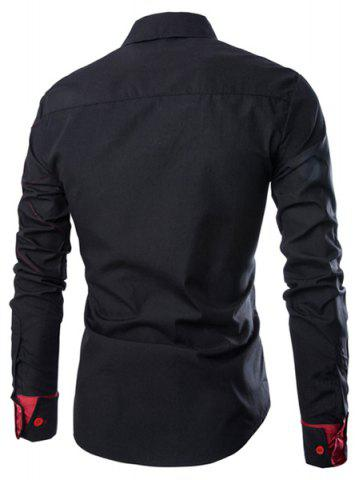 Best Fashion Shirt Collar Slimming Checked Sutures Design Long Sleeve Polyester Shirt For Men - XL BLACK Mobile