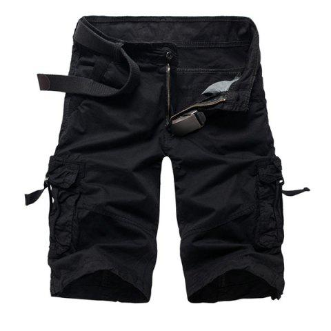 Online Military Style Stylish Multi-Pocket Solid Color Straight Leg Cotton Blend Shorts For Men