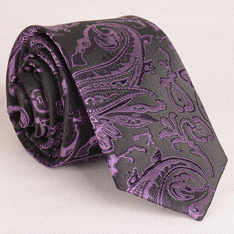 Hot Retro Style Various Embroidered Abstract Pattern Neck Tie For Men VIOLET