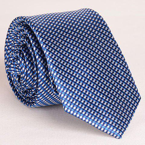 Shop Noble Style Full Tiny Blue Grid Pattern Neck Tie For Men PURPLISH BLUE