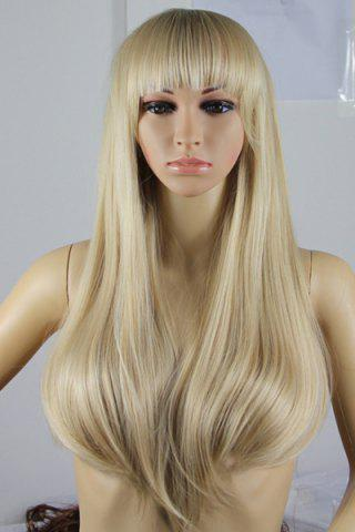 Sale Fashion Fluffy Full Bang Light Blonde Charming Long Straight Synthetic Wig For Women LIGHT GOLD