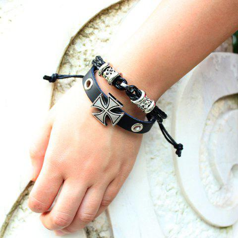 New Punk Cross Decorated Layered Chain Bracelet For Men - BLACK  Mobile