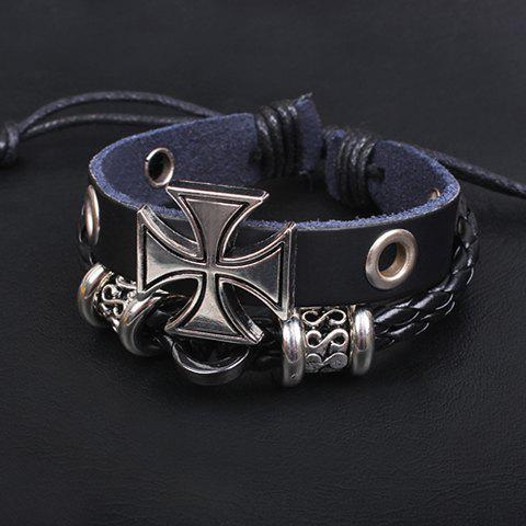 Store Punk Cross Decorated Layered Chain Bracelet For Men - BLACK  Mobile