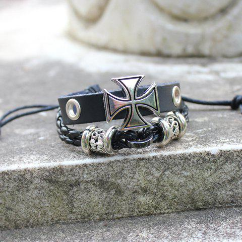 Unique Punk Cross Decorated Layered Chain Bracelet For Men - BLACK  Mobile