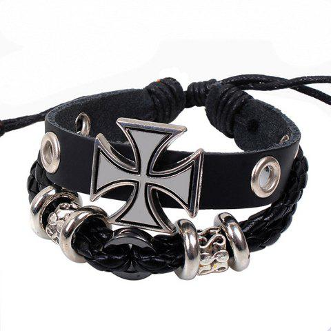 Outfits Punk Cross Decorated Layered Chain Bracelet For Men - BLACK  Mobile