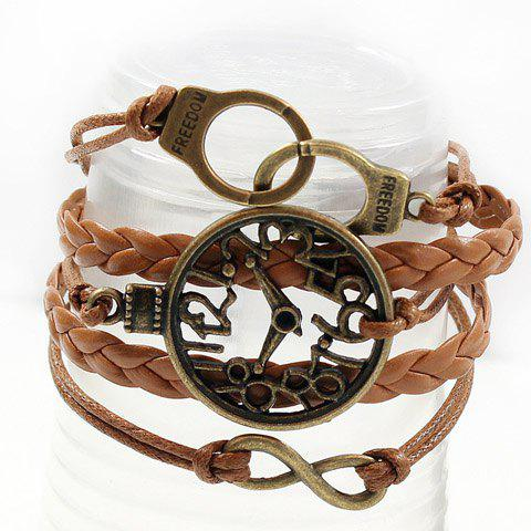 Chic Clock Shape Design Layered Bracelet - COFFEE  Mobile