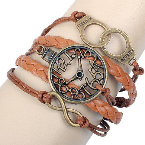 Cheap Clock Shape Design Layered Bracelet - COFFEE  Mobile