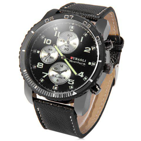 Buy Jubaoli Leather Band Male Quartz Watch with Rotatable Bezel Decorative Sub-dials