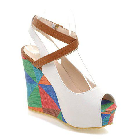 Outfit Trendy Color Block and Wedge Heel Design Women's Sandals