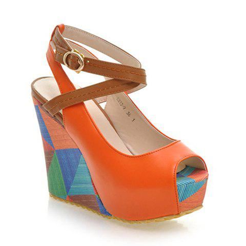 Chic Trendy Color Block and Wedge Heel Design Women's Sandals