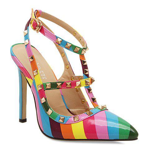 Discount Trendy Color Block and Rivets Design Pointed Toe Women's Sandals