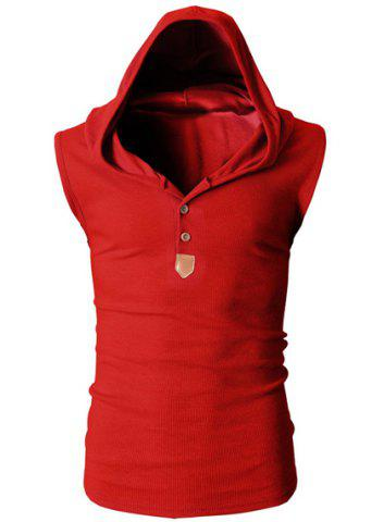 Shop Fashion Hooded Slimming Solid Color Button Design Sleeveless Polyester Tank Top For Men RED XL
