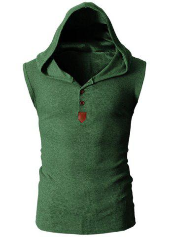 Cheap Fashion Hooded Slimming Solid Color Button Design Sleeveless Polyester Tank Top For Men - 2XL GREEN Mobile