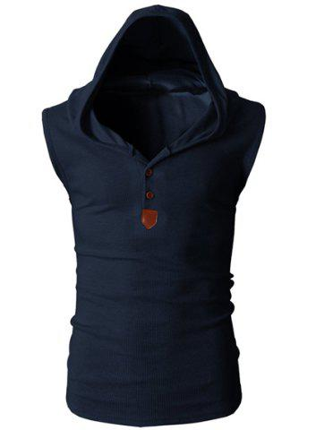 New Fashion Hooded Slimming Solid Color Button Design Sleeveless Polyester Tank Top For Men CADETBLUE L