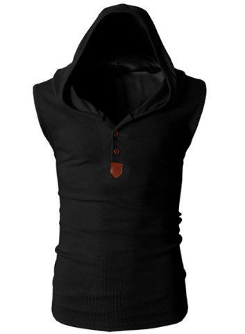 Fashion Hooded Slimming Solid Color Button Design Sleeveless Polyester Tank Top For Men - Black - Xl