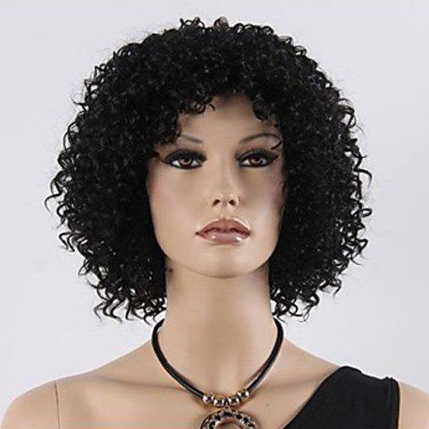Discount Europe Style Heat Resistant Synthetic Fashion Women's Black Short Kinky Curly Afro Wig BLACK