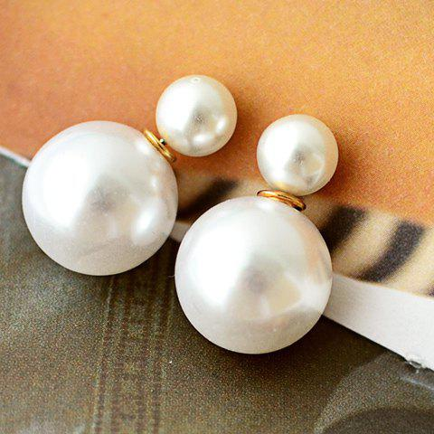 Fancy Pair of Faux Pearl Decorated Double End Stud Earrings WHITE