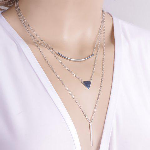Chic Geometric Pendant Layered Link Design Necklace For Women - Silver