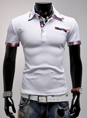 Buy Fashion Turndown Collar Slimming Color Block Checked Splicing Short Sleeve Polyester Polo T-Shirt For Men WHITE L