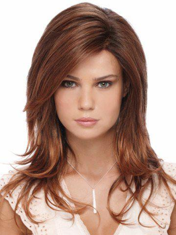 Shops Capless Charming Mixed Color Side Bang Multi-Layered Fluffy Long Wavy Women's Synthetic Wig