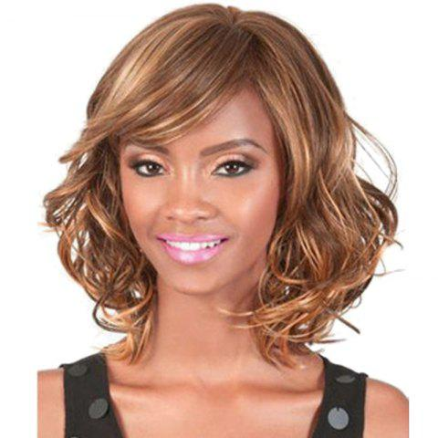 Sale Fashion Side Bang Brown Mixed Charming Medium Length Wavy Synthetic Capless Wig For Women