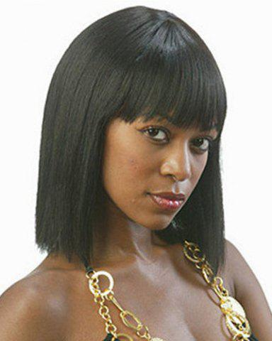 Store Fashion Full Bang Black Spiffy Medium Straight Synthetic Capless Wig For Women