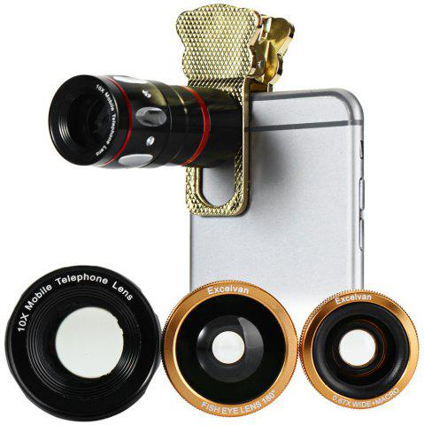 GOLDEN Excelvan 4 in 1 Fish Eye Wide Angle Macro Telephoto Lens