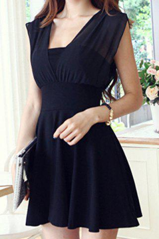 Outfits Sexy Square Neck Sleeveless Backless Bowknot Spliced Solid Color A-Line Women's Dress