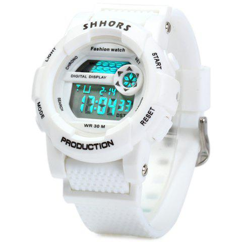 New Shhors 833 Military LED Watch Sports Wristwatch with Day Date Alarm Function Water Resistance Rubber Band -   Mobile