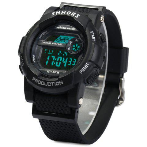 Fashion Shhors 833 Military LED Watch Sports Wristwatch with Day Date Alarm Function Water Resistance Rubber Band -   Mobile