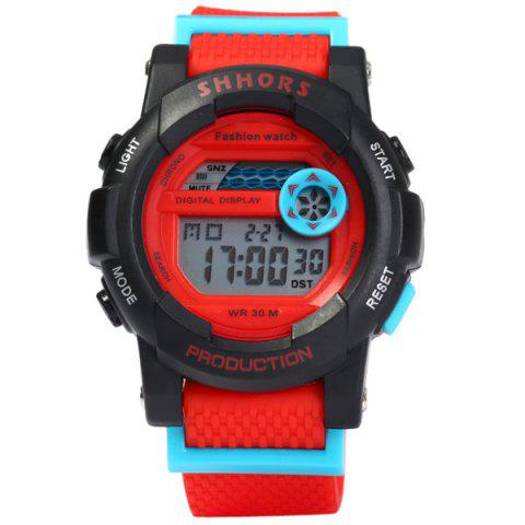 Latest Shhors 833 Military LED Watch Sports Wristwatch with Day Date Alarm Function Water Resistance Rubber Band -   Mobile