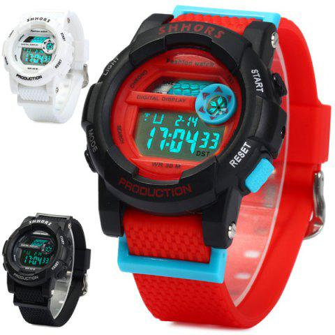 Sale Shhors 833 Military LED Watch Sports Wristwatch with Day Date Alarm Function Water Resistance Rubber Band -   Mobile