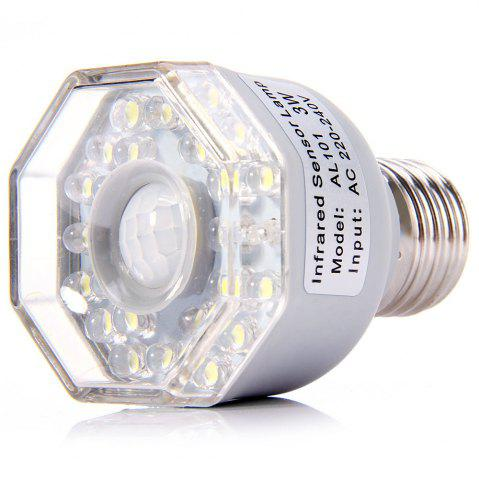 Shop AL101 Infrared Human Body Inductive E27 Base 3W Lamp 24 LEDs Auto PIR Light - WHITE  Mobile