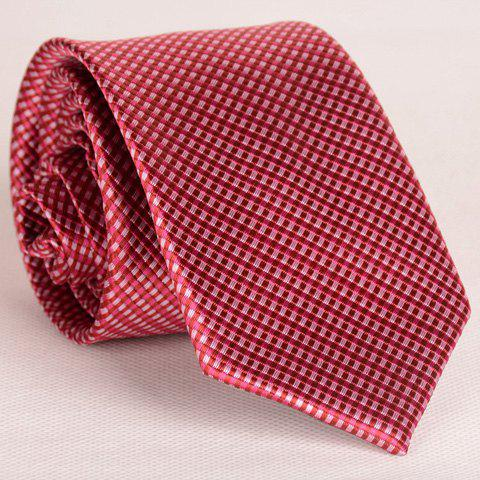 Affordable Simple Design Full Tiny Red Plaid Pattern Thin Neck Tie For Men
