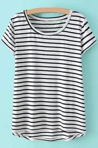 Latest Casual Style Scoop Neck Asymmetrical Stripe Short Sleeve T-Shirt For Women