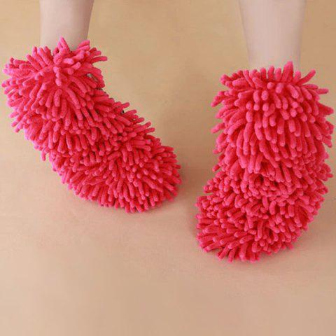 Fancy Practical Chenille Mop Slippers Dust Floor Cleaning Mopping Foot Shoes Home Pair Cleaner - RED  Mobile