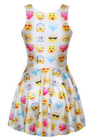 Womens Stylish Scoop Neck Sleeveless Full Emoji Print A-Line Women's Sundress - ONE SIZE(FIT SIZE XS TO M) WHITE Mobile