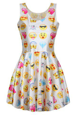 Scoop Neck Sleeveless Full Emoji Print A Line Sundress