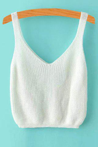 Shop V Neck Ribbed Knitted Cropped Tank Top