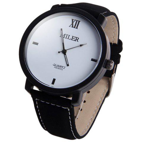 Hot Miler A828502 Analog Quartz Watch with Nubuck Leather Strap for Men WHITE AND BLACK