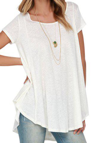 White Short Sleeve With Lace High Low T shirt