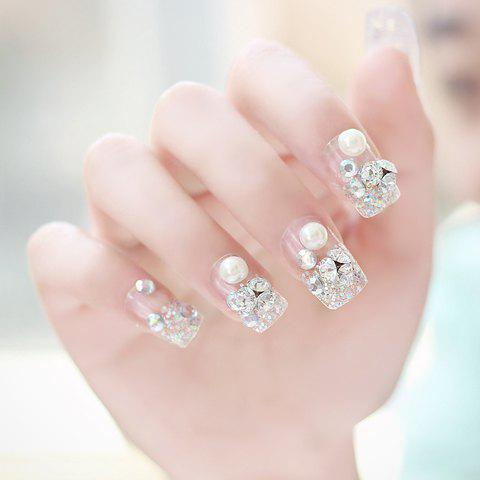 24 PCS Luxury Glitter Faux Pearl and Rhinestone Embellished Art False Nails - Transparent