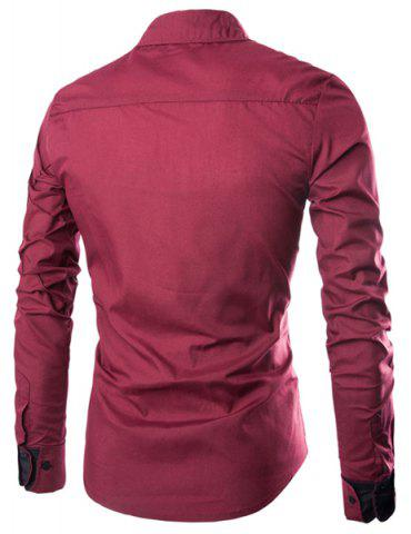Fashion Fashion Shirt Collar Slimming Checked Sutures Design Long Sleeve Polyester Shirt For Men - M WINE RED Mobile