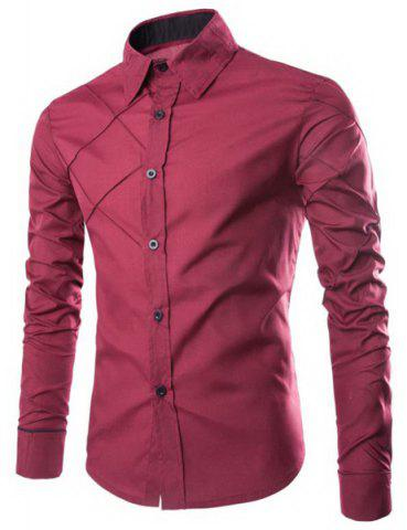 New Fashion Shirt Collar Slimming Checked Sutures Design Long Sleeve Polyester Shirt For Men WINE RED M