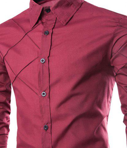Outfit Fashion Shirt Collar Slimming Checked Sutures Design Long Sleeve Polyester Shirt For Men - L WINE RED Mobile